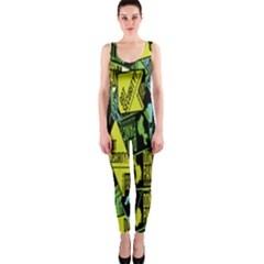Sign Don t Panic Digital Security Helpline Access Onepiece Catsuit by Mariart