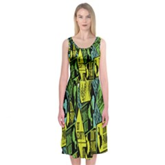 Sign Don t Panic Digital Security Helpline Access Midi Sleeveless Dress by Mariart