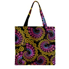 Spiral Floral Fractal Flower Star Sunflower Purple Yellow Zipper Grocery Tote Bag by Mariart