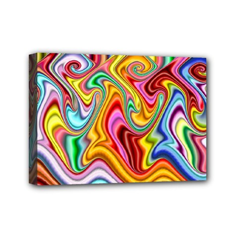 Rainbow Gnarls Mini Canvas 7  X 5  by WolfepawFractals