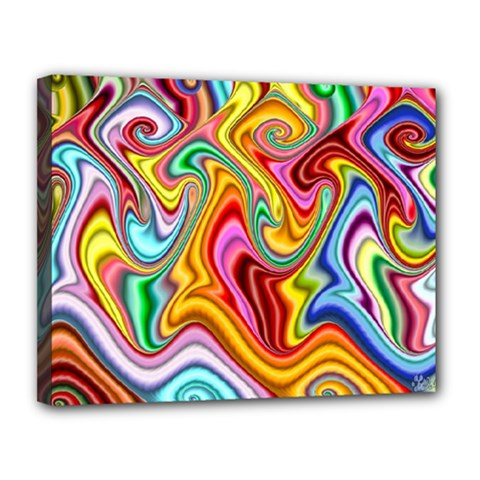 Rainbow Gnarls Canvas 14  X 11  by WolfepawFractals