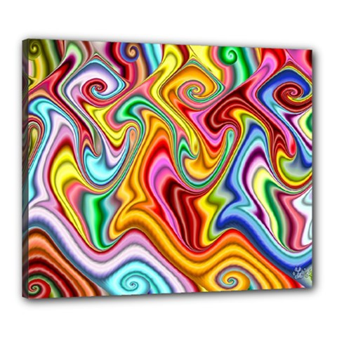 Rainbow Gnarls Canvas 24  X 20  by WolfepawFractals