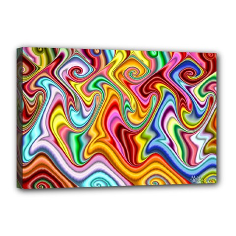Rainbow Gnarls Canvas 18  X 12  by WolfepawFractals