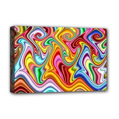 Rainbow Gnarls Deluxe Canvas 18  X 12   by WolfepawFractals
