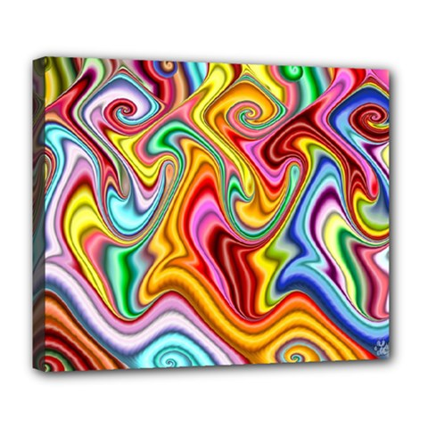 Rainbow Gnarls Deluxe Canvas 24  X 20   by WolfepawFractals