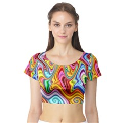 Rainbow Gnarls Short Sleeve Crop Top (tight Fit) by WolfepawFractals
