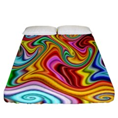 Rainbow Gnarls Fitted Sheet (california King Size) by WolfepawFractals
