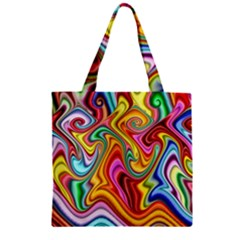 Rainbow Gnarls Zipper Grocery Tote Bag by WolfepawFractals