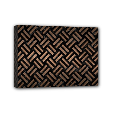 Woven2 Black Marble & Bronze Metal Mini Canvas 7  X 5  (stretched)