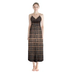 Woven1 Black Marble & Bronze Metal (r) Button Up Chiffon Maxi Dress