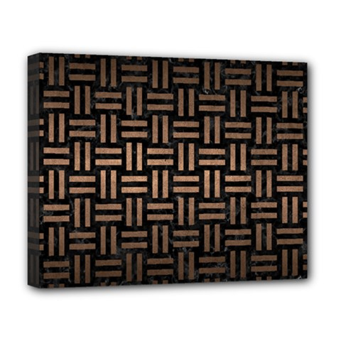 Woven1 Black Marble & Bronze Metal Deluxe Canvas 20  X 16  (stretched) by trendistuff