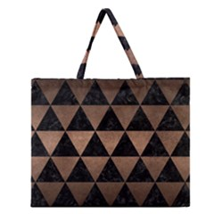 Triangle3 Black Marble & Bronze Metal Zipper Large Tote Bag by trendistuff
