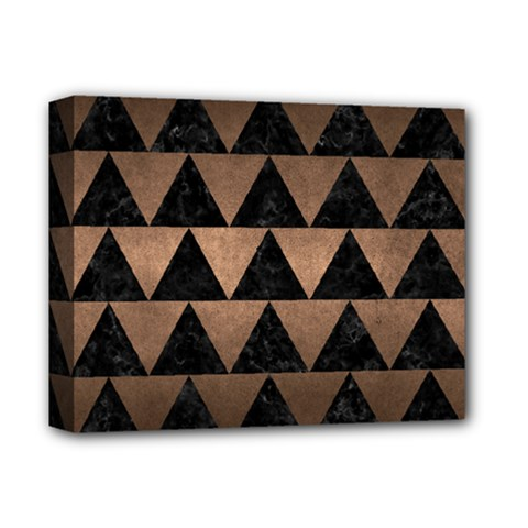 Triangle2 Black Marble & Bronze Metal Deluxe Canvas 14  X 11  (stretched) by trendistuff