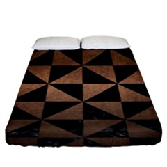 Triangle1 Black Marble & Bronze Metal Fitted Sheet (king Size) by trendistuff
