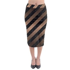 Stripes3 Black Marble & Bronze Metal Midi Pencil Skirt by trendistuff