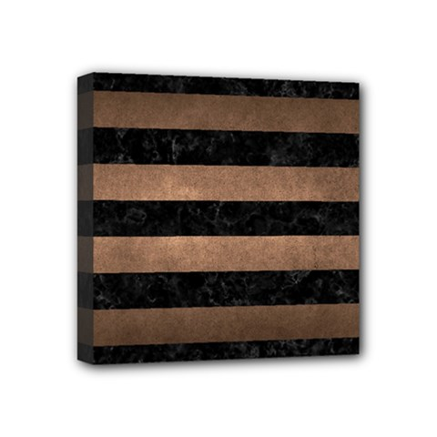 Stripes2 Black Marble & Bronze Metal Mini Canvas 4  X 4  (stretched) by trendistuff