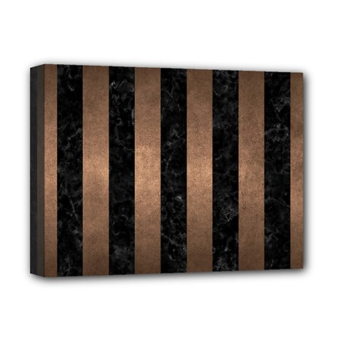 Stripes1 Black Marble & Bronze Metal Deluxe Canvas 16  X 12  (stretched)  by trendistuff