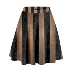 Stripes1 Black Marble & Bronze Metal High Waist Skirt by trendistuff