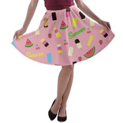 Summer Pattern A Line Skater Skirt by Valentinaart