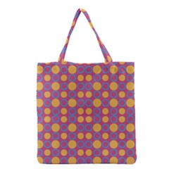 Colorful Geometric Polka Print Grocery Tote Bag by dflcprints