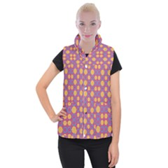 Colorful Geometric Polka Print Women s Button Up Puffer Vest by dflcprintsclothing