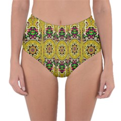 Rainbow And Stars Coming Down In Calm  Peace Reversible High Waist Bikini Bottoms by pepitasart