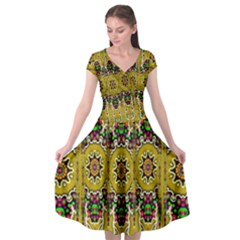 Rainbow And Stars Coming Down In Calm  Peace Cap Sleeve Wrap Front Dress by pepitasart