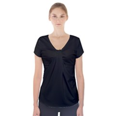 Simply Black Short Sleeve Front Detail Top by SimplyColor