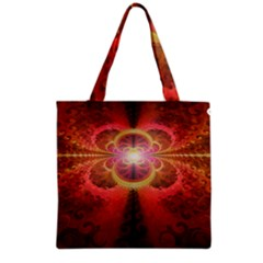 Liquid Sunset, A Beautiful Fractal Burst Of Fiery Colors Grocery Tote Bag