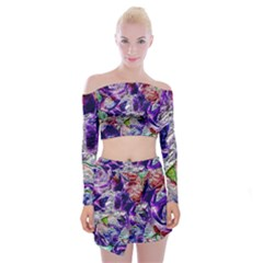 Floral Chrome 01a Off Shoulder Top With Skirt Set by MoreColorsinLife