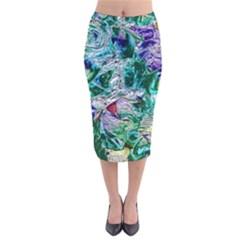 Floral Chrome 01b Velvet Midi Pencil Skirt by MoreColorsinLife