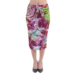 Floral Chrome 01c Velvet Midi Pencil Skirt by MoreColorsinLife