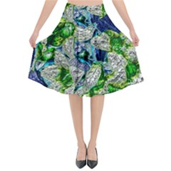 Floral Chrome 2a Flared Midi Skirt by MoreColorsinLife