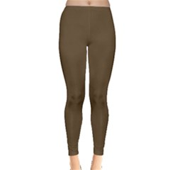 Brown Hide Solid Color  Leggings  by SimplyColor