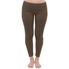 Brown Hide Solid Color  Classic Winter Leggings by SimplyColor