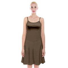 Brown Hide Solid Color  Spaghetti Strap Velvet Dress by SimplyColor
