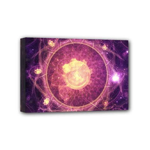 A Gold And Royal Purple Fractal Map Of The Stars Mini Canvas 6  X 4  by jayaprime