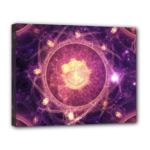 A Gold And Royal Purple Fractal Map Of The Stars Canvas 14  X 11  by beautifulfractals
