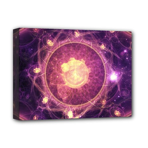 A Gold And Royal Purple Fractal Map Of The Stars Deluxe Canvas 16  X 12   by jayaprime