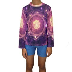 A Gold And Royal Purple Fractal Map Of The Stars Kids  Long Sleeve Swimwear