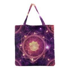 A Gold And Royal Purple Fractal Map Of The Stars Grocery Tote Bag by beautifulfractals