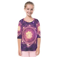 A Gold And Royal Purple Fractal Map Of The Stars Kids  Quarter Sleeve Raglan Tee