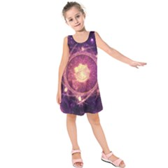 A Gold And Royal Purple Fractal Map Of The Stars Kids  Sleeveless Dress