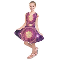 A Gold And Royal Purple Fractal Map Of The Stars Kids  Short Sleeve Dress