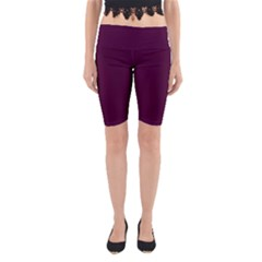 Black Cherry Solid Color Yoga Cropped Leggings by SimplyColor