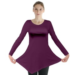 Black Cherry Solid Color Long Sleeve Tunic  by SimplyColor