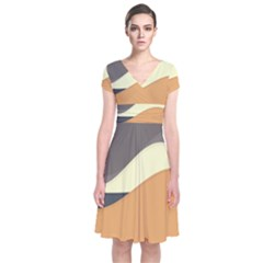 Wave Chevron Waves Material Short Sleeve Front Wrap Dress