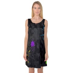Black Camo Shot Spot Paint Sleeveless Satin Nightdress