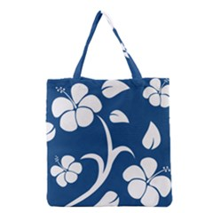 Blue Hawaiian Flower Floral Grocery Tote Bag by Mariart