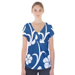 Blue Hawaiian Flower Floral Short Sleeve Front Detail Top